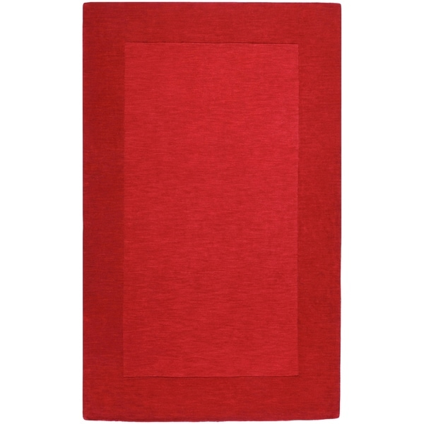 Hand-crafted Solid Red Tone-On-tone Bordered Mantra Wool Area Rug - 6' x 9'