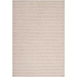 Hand-crafted Solid Antique White Caparo Street Wool Rug (8' x 10')