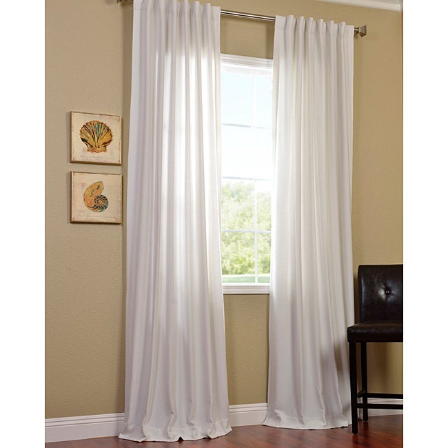 Exclusive Fabrics Polar White Faux Cotton Cotenza Curtain Panel