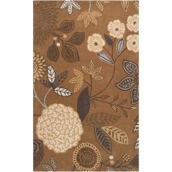 Hand-tufted Brown Diego Martin Floral Wool Area Rug (9' x 12') - Thumbnail 0