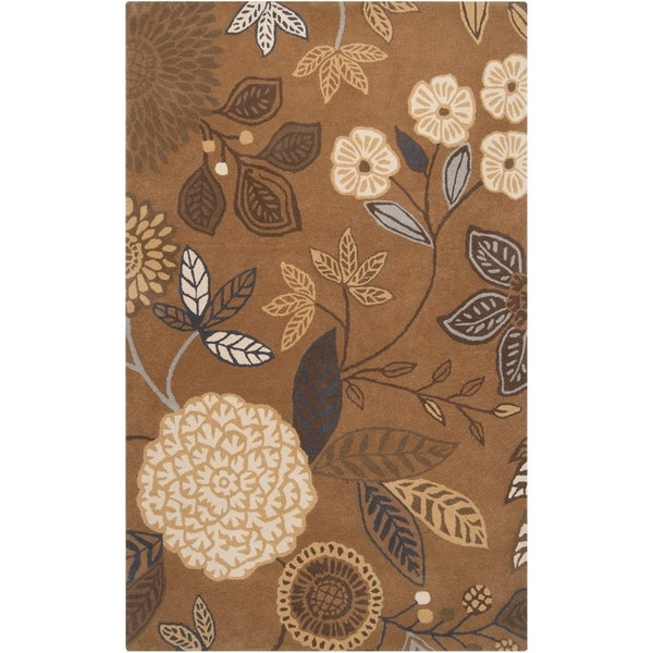 Hand-tufted Brown Diego Martin Floral Wool Area Rug - 9' x 12'