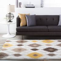 Transitional Hand-Hooked Gold Benton Area Rug - 3'6 X 5'6