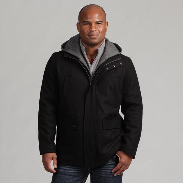 Calvin Klein Men's Black Wool Hooded Wool Blend Coat