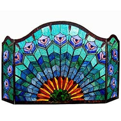 Chloe Tiffany Style Peacock Design 3-panel Fireplace Screen|https://ak1.ostkcdn.com/images/products/6749090/Tiffany-style-Peacock-Design-Fireplace-Screen-P14292804.jpg?impolicy=medium