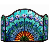 Chloe Tiffany Style Peacock Design 3-panel Fireplace Screen