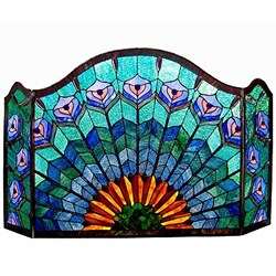 Chloe Tiffany Style Peacock Design 3-panel Fireplace Screen - N/A