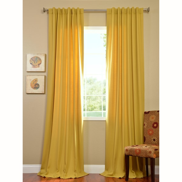 Exclusive Fabrics Citron Cotenza Faux Cotton Curtain Panel