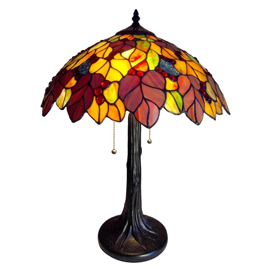 Tiffany-style Leaf Design 2-light Table Lamp