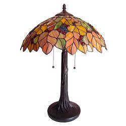 Tiffany Style Leaf Design 2 Light Table Lamp Free