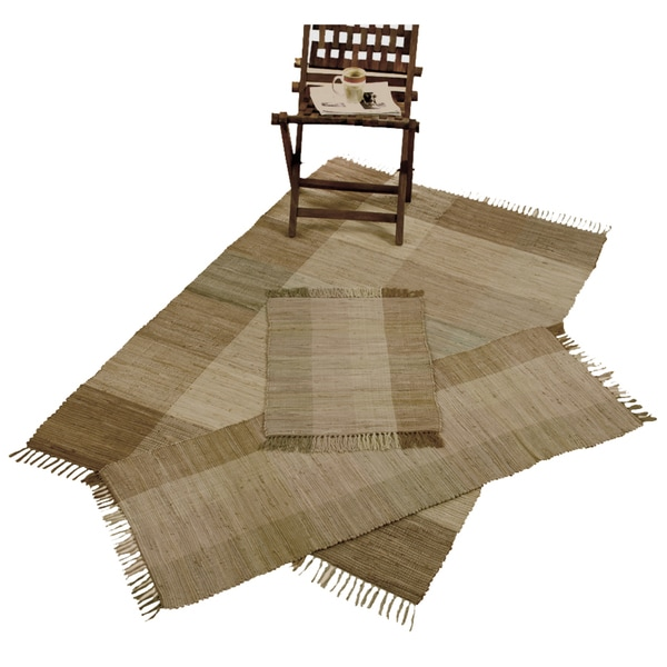 Handwoven Chindi Brown Cotton Accent Rugs Set Of 3