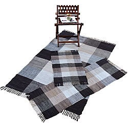Handwoven Chindi Beige Cotton Accent Rugs (Set of 3)