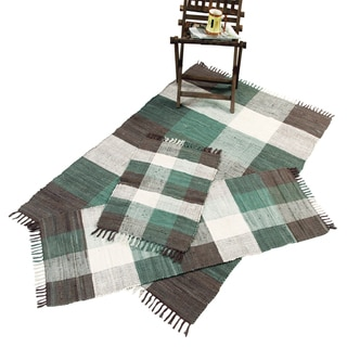 Handwoven Chindi Teal Cotton Accent Rugs (Set of 3)
