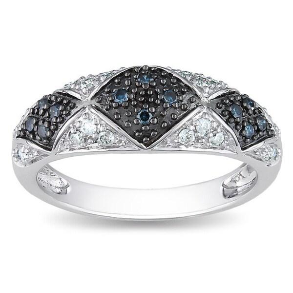 Miadora 14k White Gold 1/4ct TDW Blue and White Diamond Ring (H-I, I2-I3)