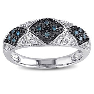 Miadora 14k White Gold 1/4ct TDW Blue and White Diamond Ring