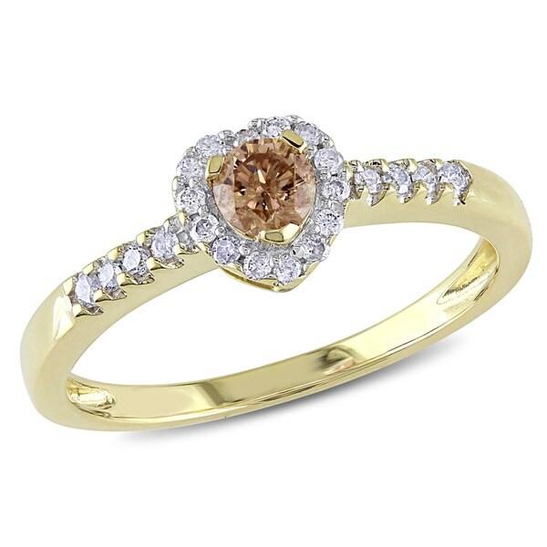 Miadora 10k Yellow Gold 1/3ct TDW Brown and White Diamond Ring