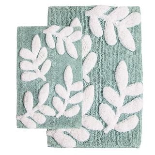 Monte Carlo Cotton Moonstone and White 2-piece Bath Rug Set - Includes BONUS Step Out Mat