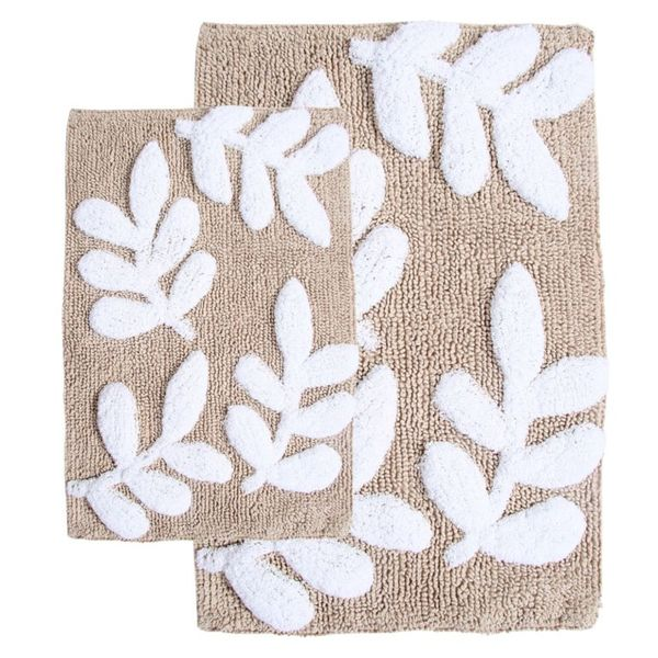Monte Carlo Cotton Taupe and White 2piece Bath Rug Set Includes