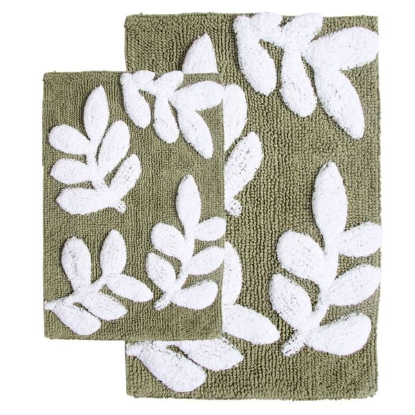 Monte Carlo Cotton Sage And White 2 Piece Bath Rug Set Includes Bonus Step Out Mat Free