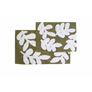 Monte Carlo Cotton Sage and White 2-piece Bath Rug Set - Includes BONUS Step Out Mat