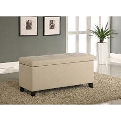 Tufted Linen Storage Bench - Thumbnail 1