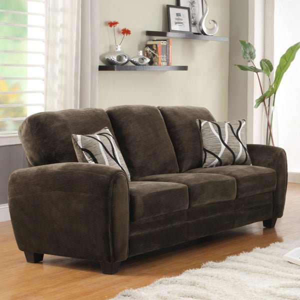 Daventry Chocolate Microfiber Sofa Free Shipping Today