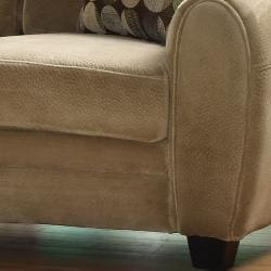 Daventry Light Brown Microfiber Loveseat