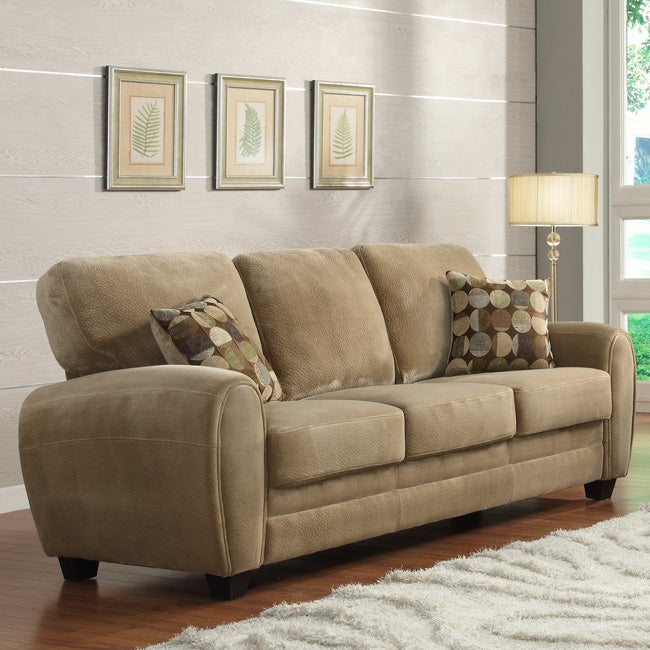 Daventry Light Brown Microfiber Sofa Free Shipping Today