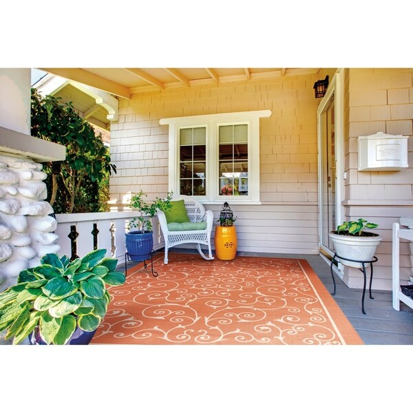 Nourison Home and Garden Indoor/Outdoor Floral Vibrant Orange Rug - 7'9 x 10'10