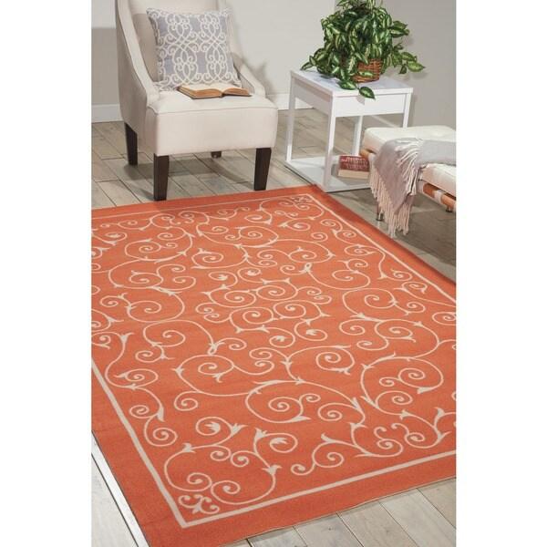 Home And Garden Rugs: Nourison Home And Garden Indoor/Outdoor Orange Rug (7'9 X