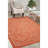Nourison Home and Garden Indoor/Outdoor Floral Vibrant Orange Rug - 7'9 x 10'10
