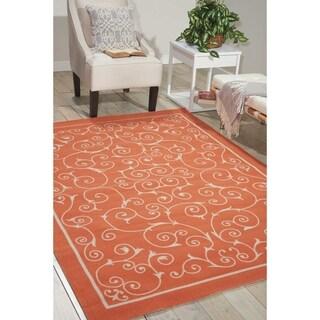 Nourison Home and Garden Indoor/Outdoor Orange Rug (7'9 x 10'10)