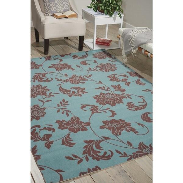 Nourison Home and Garden Light Blue Indoor/Outdoor Rug - 7'9 x 10'10