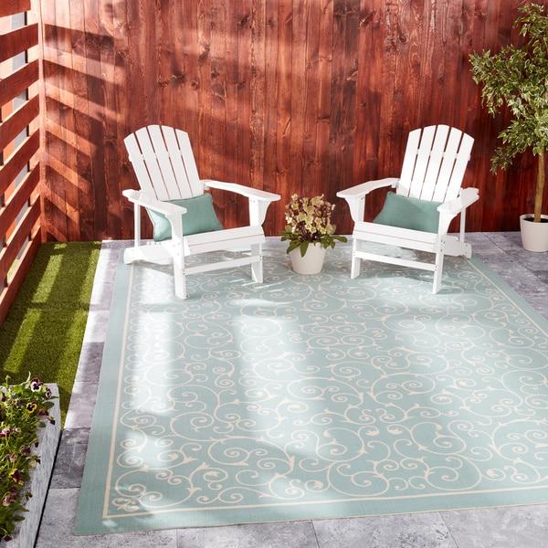 Nourison Home and Garden Indoor/Outdoor Light Blue Rug (7'9 x 10'10) - 7'9 x 10'10