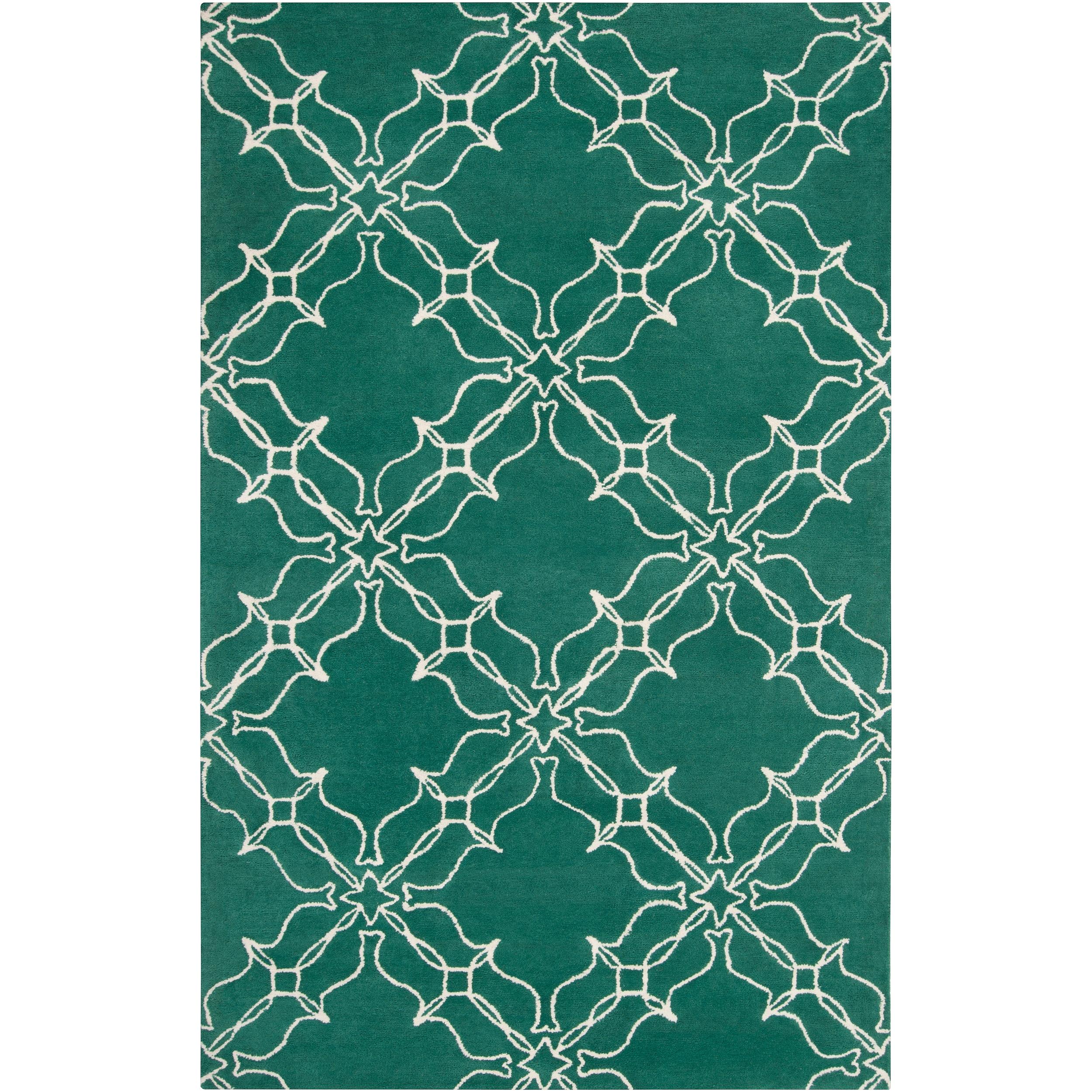 Aimee Wilder Hand-Tufted Green Courland Geometric Trellis Wool Area Rug (5' x 8')