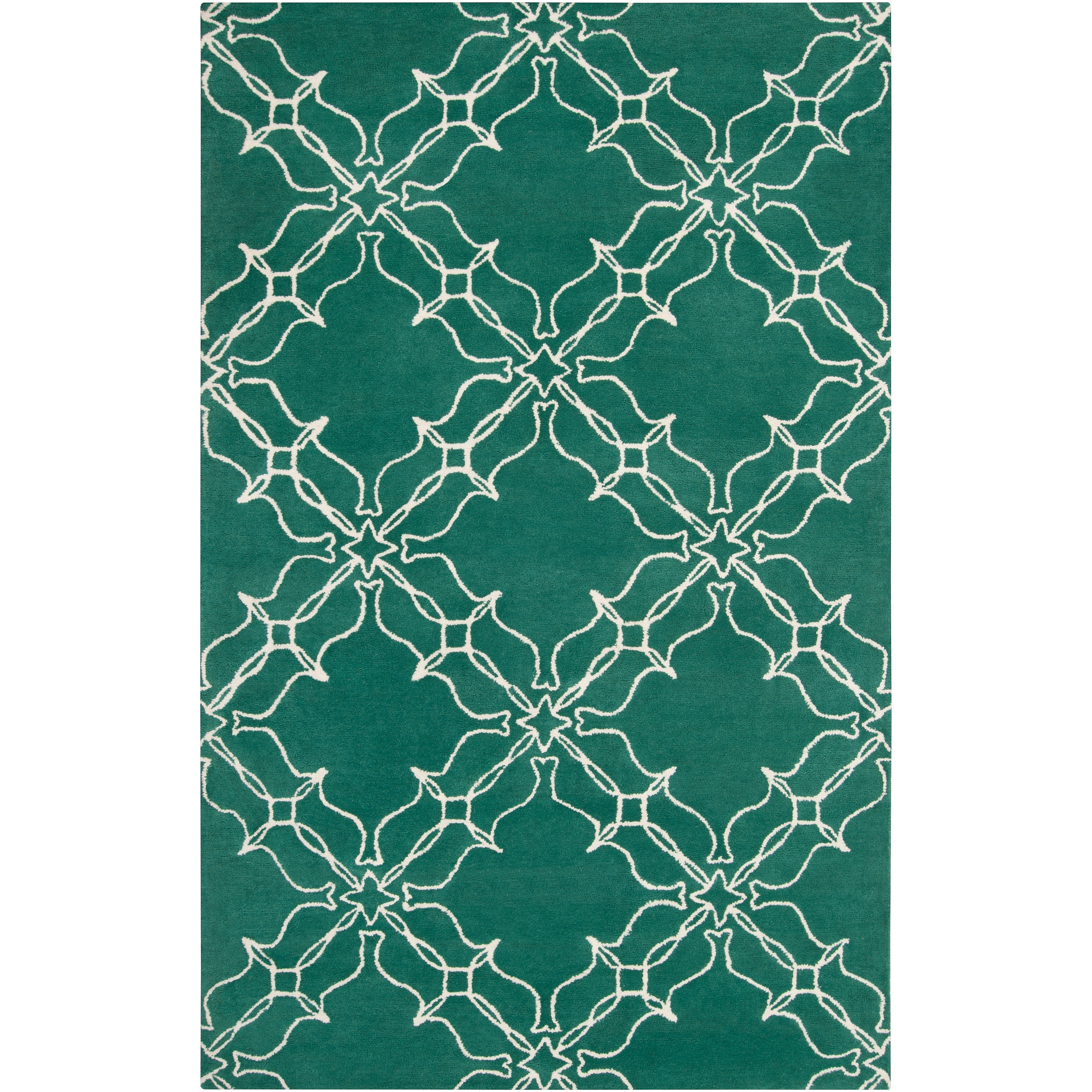 Aimee Wilder Hand-Tufted Green Courland Transitional Geometric Trellis Wool Rug (8' x 11')