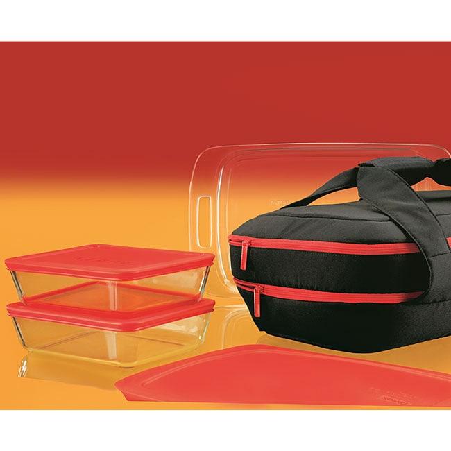 PYREX Portable 9-piece Double Decker Set, Red, Size 3 Qua...