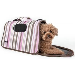 Pet Life Airline Approved Zippered Folding Collapsible Pet Dog Carrier Crate - MEDIUM