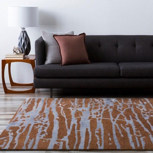 Hand-tufted Brown Caparo Street Abstract Wool Area Rug - 5' x 8'