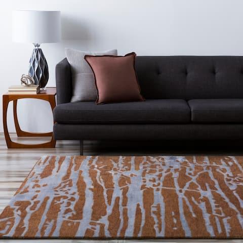 Hand-tufted Brown Caparo Street Abstract Wool Area Rug - 8' x 11'/Surplus