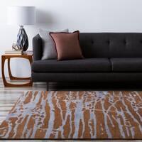 Hand-tufted Brown Caparo Street Abstract Wool Area Rug - 8' x 11'