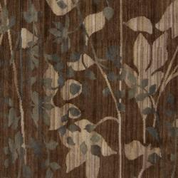Hand-knotted Brown Barrack New Zealand Wool Rug (8' x 11') - Thumbnail 2