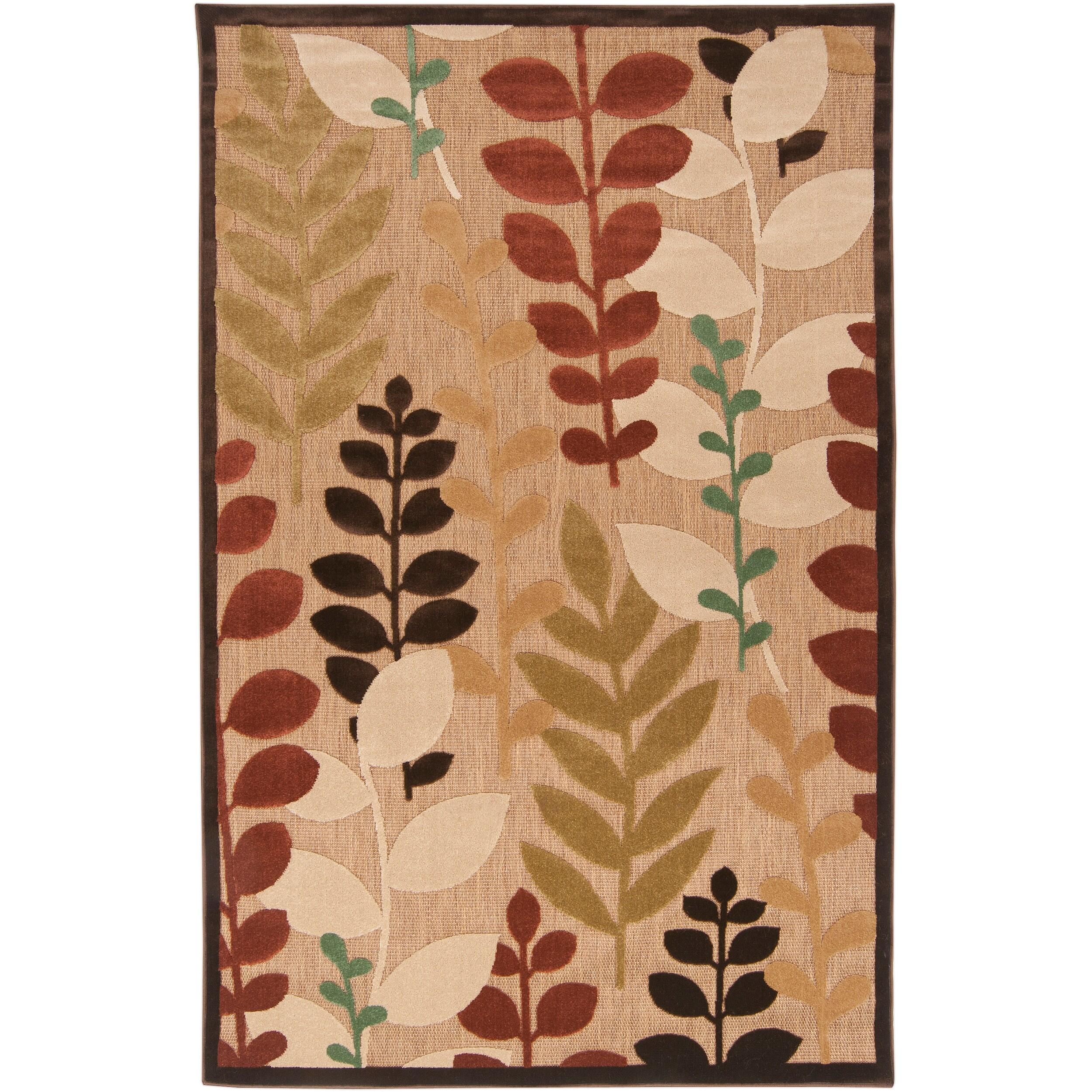Pine Canopy Sierra Woven Beige Floral Area Rug - 7'10 x 10'8'