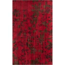 Hand-knotted Burgundy Barrack New Zealand Wool Area Rug (5' x 8') - Thumbnail 0