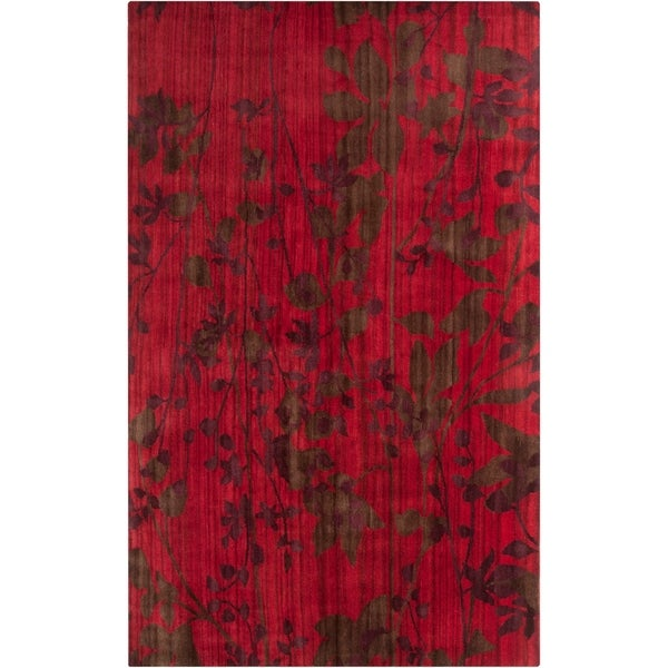 Hand-knotted Burgundy Barrack New Zealand Wool Area Rug - 5' x 8'