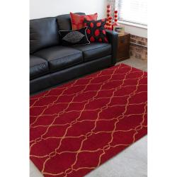 Hand-woven Brown Faller Wool Rug (9' x 13') - Thumbnail 2