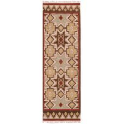 Hand-woven Tan/Red Southwestern Aztec Jasmine Hard Twist Wool Rug (2'6 x 8')