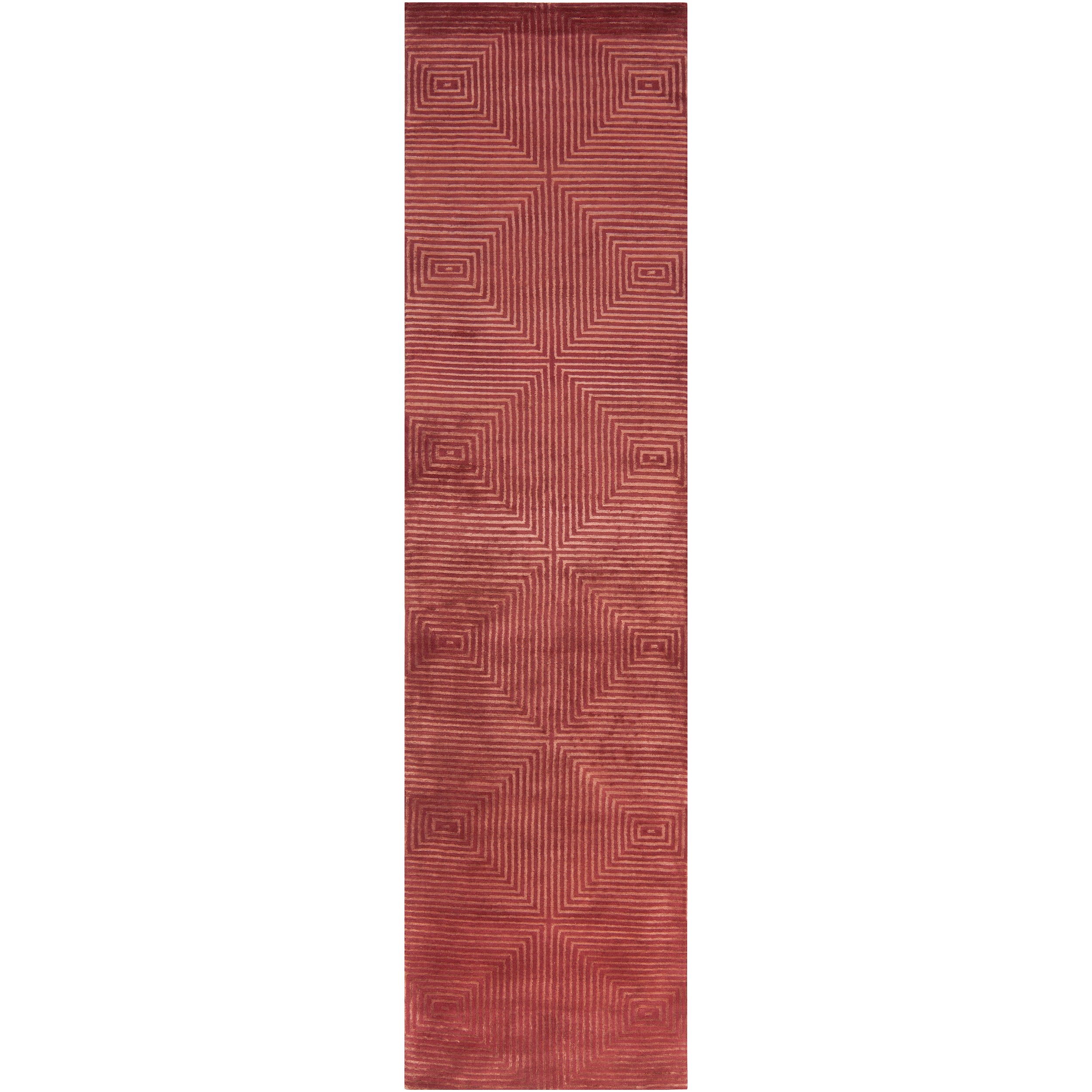Hand-knotted Red Light House Geometric Wool Rug (2'6 x 10')