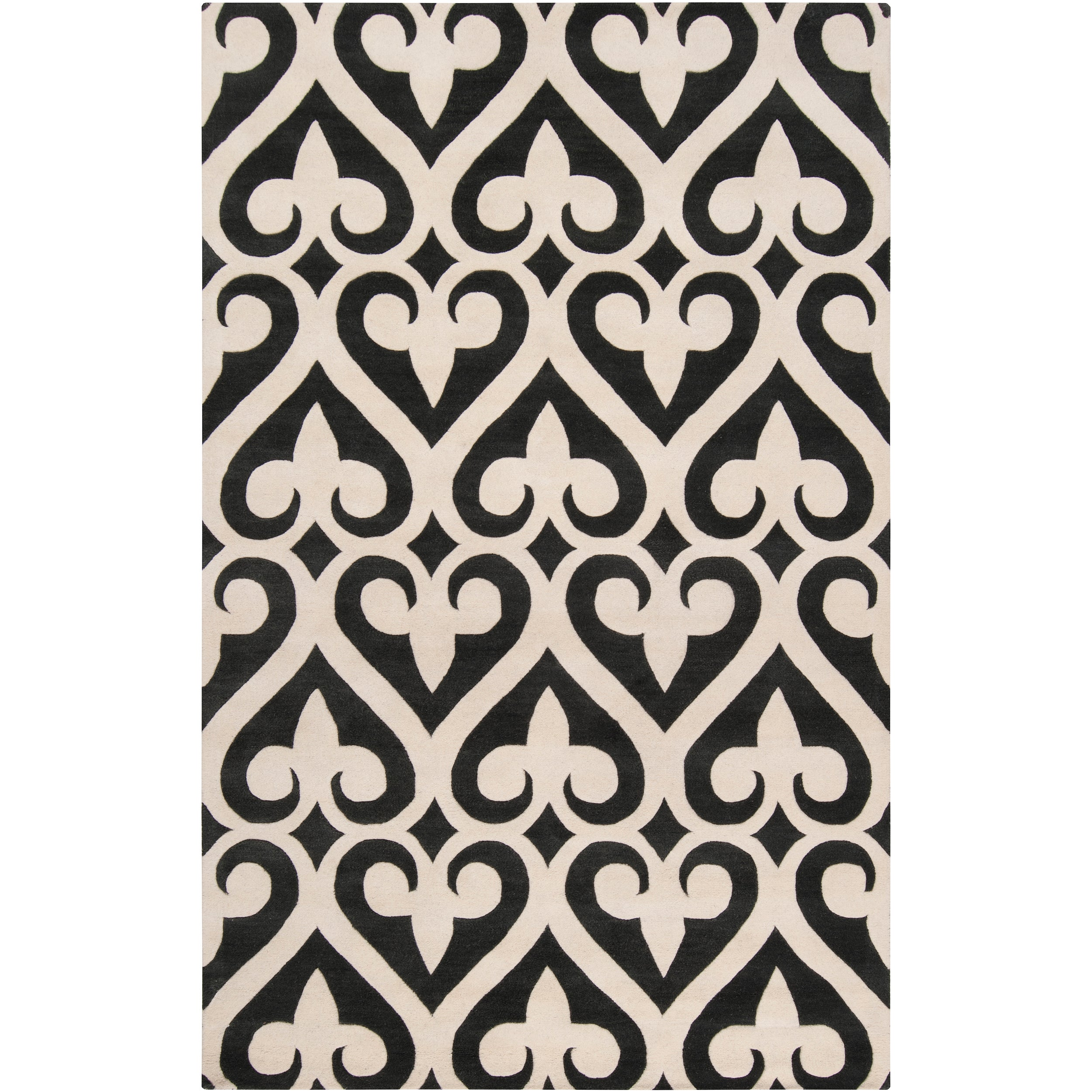 SURYA Hand-tufted Black Reelan Geometric Fleur D Lis Wool...