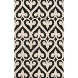Hand-tufted Black Reelan Geometric Fleur D Lis Wool Area Rug (5' x 8') - Thumbnail 0