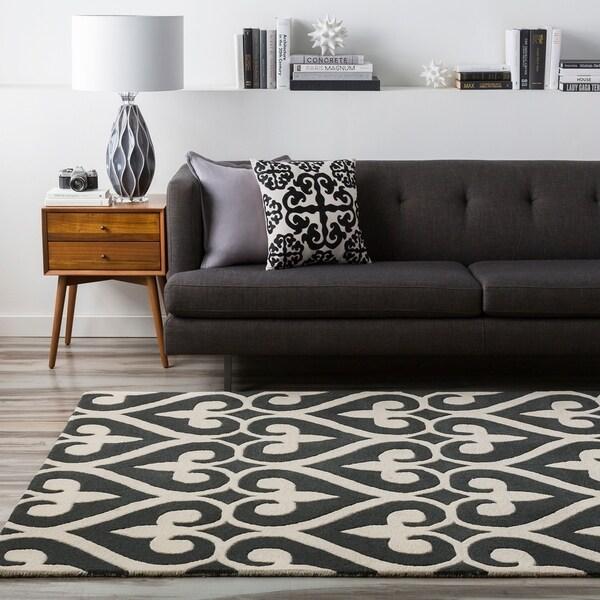 Hand-tufted Black Reelan Geometric Fleur D Lis Wool Area Rug - 5' x 8'